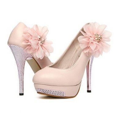 Pink Flower Textured Heel Pumps