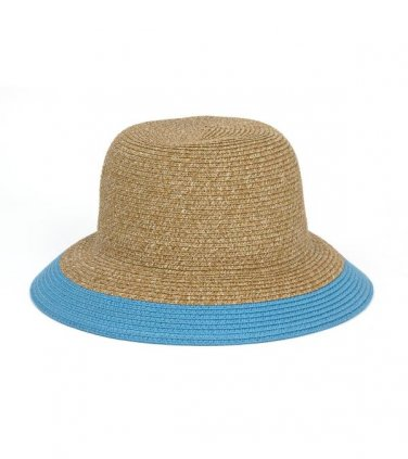 Blue/Tan Two Tone Straw Hat