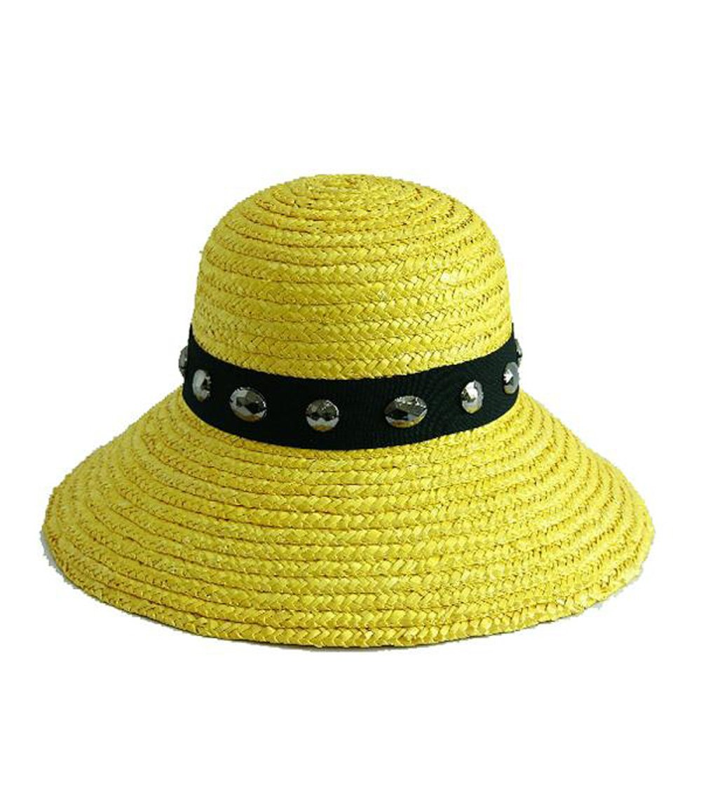 Yellow Wheat Straw Downturn Wide Jeweled Brim Hat