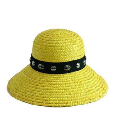 Yellow Wheat Straw Downturn Wide Jeweled Brim Hat