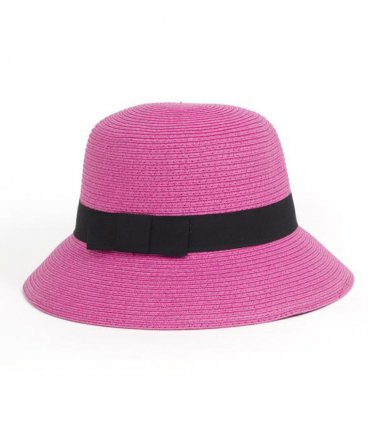 Fuchsia Paper Straw Downturn Brim Hat