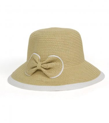Tan Two Tone Paper Straw Downturn Brim Hat with Bow