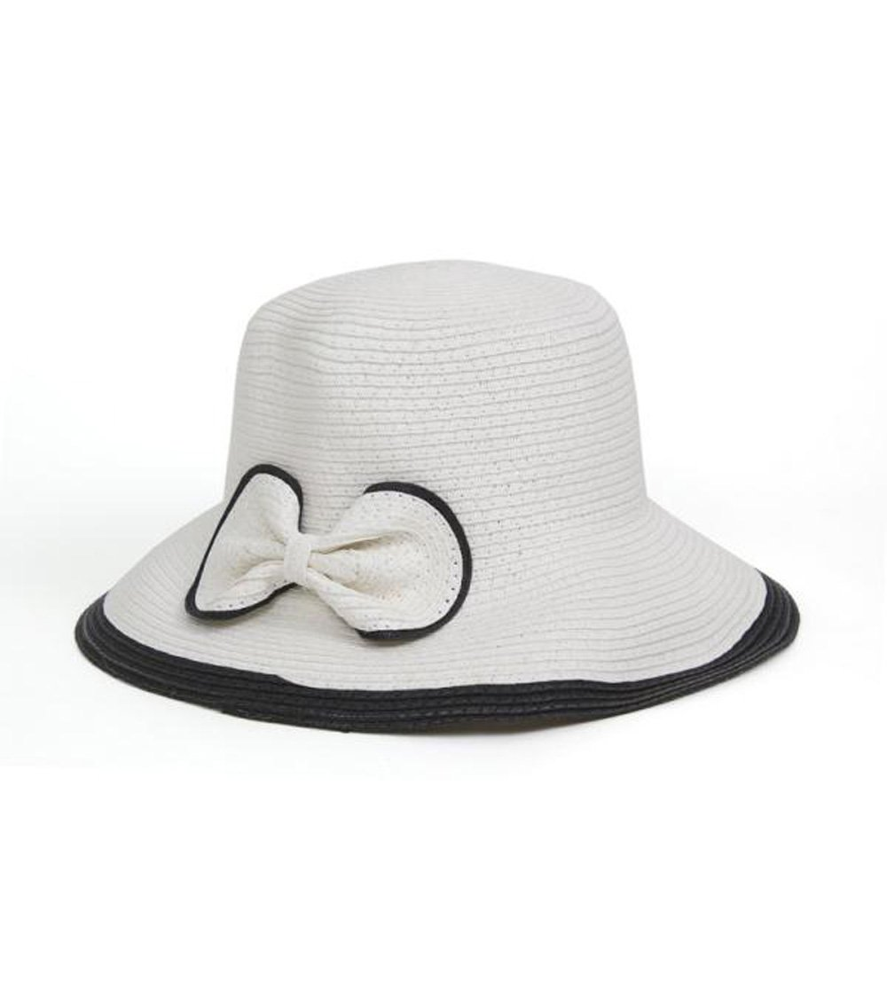 White Two Tone Paper Straw Downturn Brim Hat with Bow