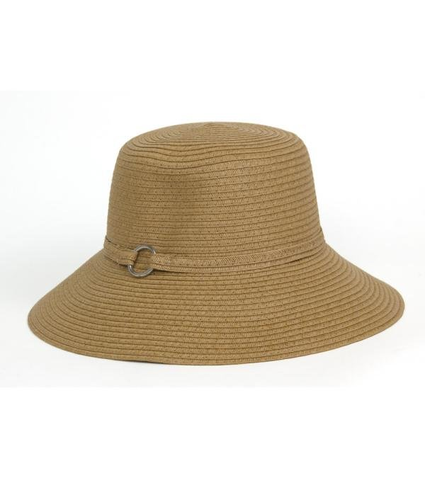 Tan Paper Straw Downturn Brim Hat