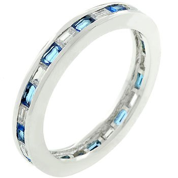 Sapphire Cubic Zirconia Eternity Ring - Size 6
