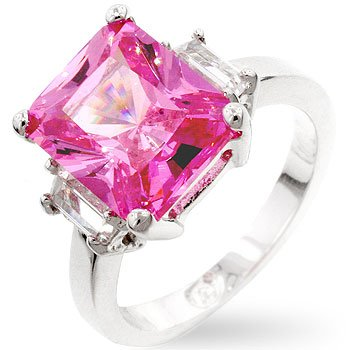 Pink Cubic Zirconia Triplet Ring - Size 6