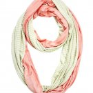 Peach & Lime Green Striped Solid Infinity Scarf