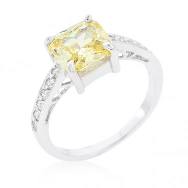 Yellow & Sterling Silver Cubic Zirconia Ring - Size 6