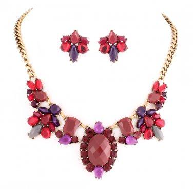 Red & Purple Beaded Stone Jewelry Set