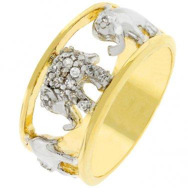 Elephant Cubic Zirconia Ring - Size 6