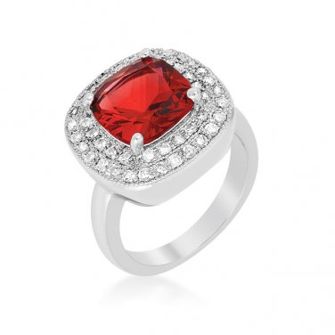 Silver & Red Cubic Zirconia Cocktail Ring - Size 7