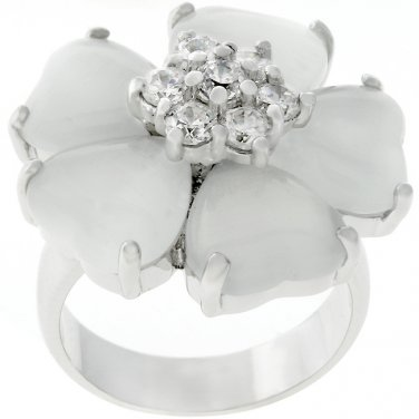 White Cats Eye Flower CZ Ring - Size 6