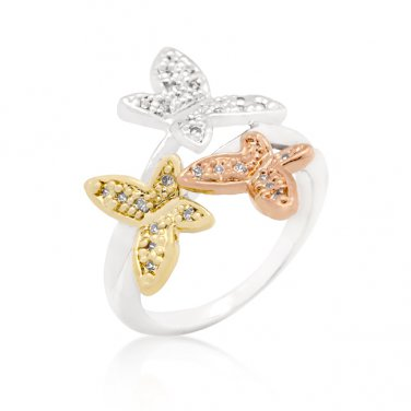 Metallic Trio CZ Butterfly Ring - Size 6