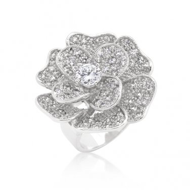 Silver Cubic Zirconia Large Flower Cocktail Ring - Size 6