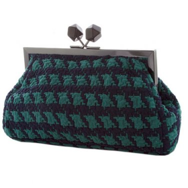 Teal & Navy Blue Vintage Style Houndstooth Purse