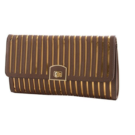 Brown and Gold Metallic Striped Foldover Clutch