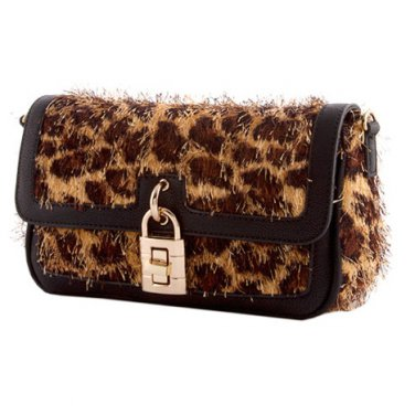 Brown Textured Leopard Print Purse with Front Lock