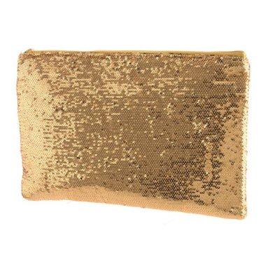 Gold Sequin Zipper Clutch
