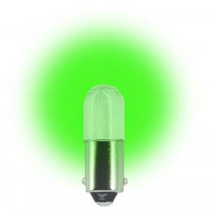 (Pack of 2) 24 Volt.T3 ¼ Miniature Bayonet (BA9s) LED Light Bulb Color Green #L1024MB-G