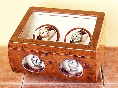 Steinhausen Dual Watch Winder (Burlwood) # TM 513 A