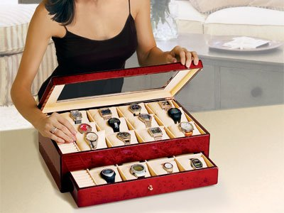 Burlwood Watch Storage Case (Large) # TM 309 A