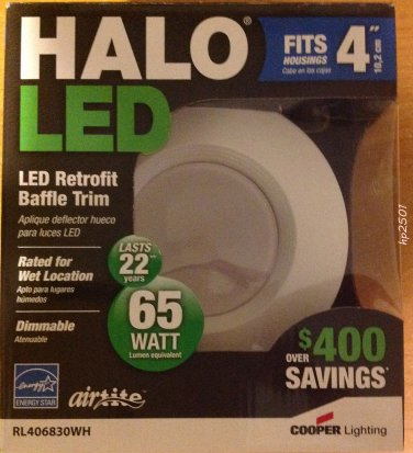 "Qty 4- HALO RL460WH830 LED RECESSED LIGHTING 4"" WHITE 600 LUMENS 13.7W"