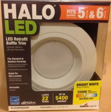 Qty 8 - Halo 6 in. (RL560WH6835R) Recessed 3500K White LED Retrofit Baffle