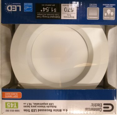 QTY 4/T45 Commercial Electric 4 in. White Recessed LED Trim / Model CER4730BWH27