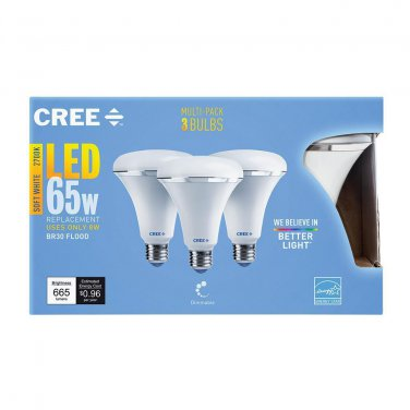 Qty 3 (1x3 Pack) - CREE 65W Equiv. Soft White (2700K) BR30 Dimmable LED Light Bulb