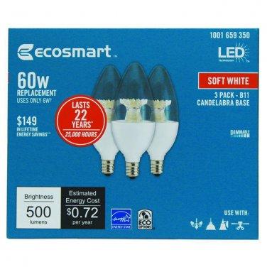 Qty 3 (1x3 Pack) - EcoSmart 60W Soft White B11 Candelabra Dimmable LED Light Bulb