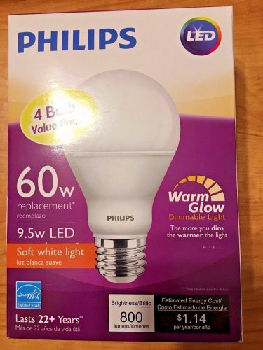 Qty 4 (1x4Pack) - Philips 60w Soft White A19 Dimmable Warm Glow LED Bulbs