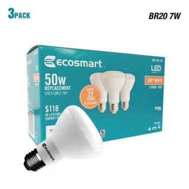 3 Pack - EcoSmart 50W Equivalent Soft White BR20 Dimmable LED Light Bulb
