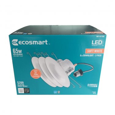 EcoSmart 65W Eq. Soft White 5 and 6 in. E26 Dimmable Downlight LED Light (3 Pack)