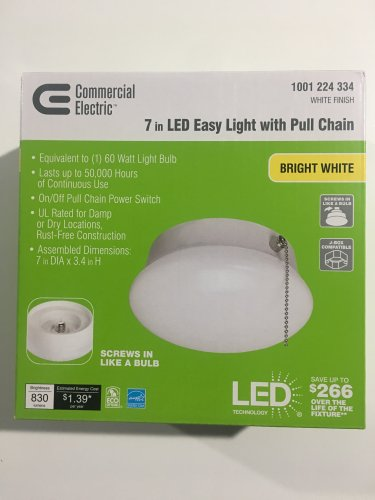 2 Pack / Commercial Electric 7 in Bright White LED Flushmount Easy Light with Pull Chain