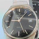 UNUSUAL BLACK DIAL WALTHAM DATE QUARTZ WATCH RUNS
