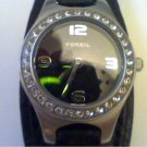 COOL LEATHER BAND STONED BEZEL FOSSIL LADY WATCH RUNS