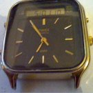 COOL VINTAGE DUAL LCD ANALOG ALARM TIMEX WATCH RUNS
