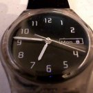 1999 BLACK SUNBURST DIAL DAY DATE SWATCH WATCH RUNS