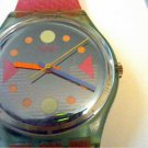 VINTAGE 1991 COLORFUL HANDS RED BAND SWATCH WATCH RUNS