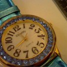 CLOLORFUL BLUE STONE BEZEL LADIES CHANTILLY WATCH RUNS