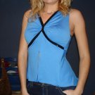 NEW Blue black sequined sequin midriff tank top ( M )