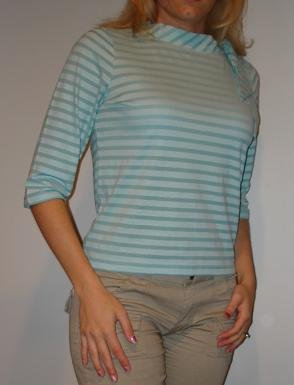 NEW J. JILL teal green striped boat neck 3/4 sleeve shirt (PETITE M, PM)