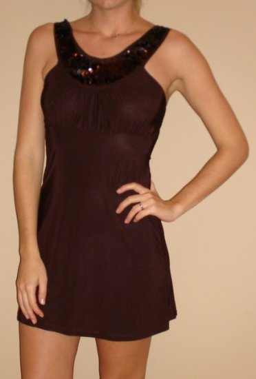 NEW IMAGINE brown sequin goddess mini dress sz M