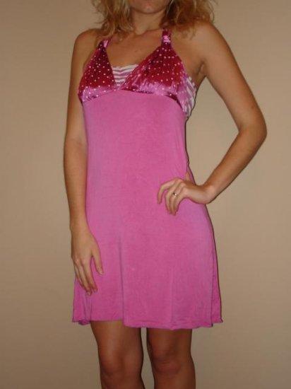 NWT KAIDAL pink white polka dot silk halter dress sz S L