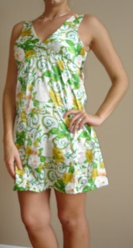 NWT PLANET GOLD green white yellow retro tank dress XS, S, M