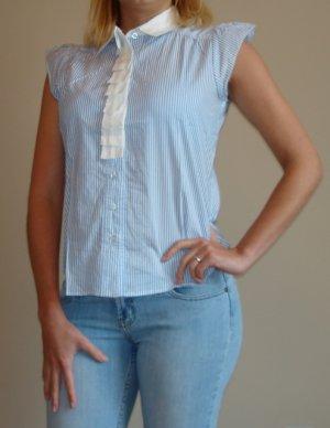 NWT FOREVER 21 blue white stripe button down shirt sz M