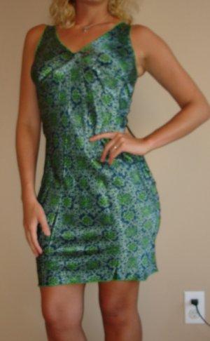 NEW GLAM green blue stretch knee length dress sz S, M, L