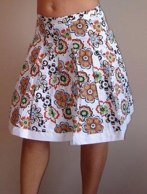NWT FOREVER 21 white orange floral knee skirt XS 2 3, S 4 5, M 6 7
