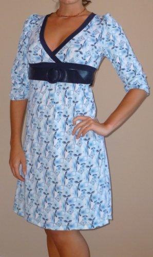 NWT NO BOUNDARIES blue black belted dress sz S