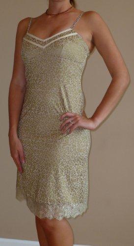 NWT PEPPE PELUSO gold tan animal lace dress sz S M L